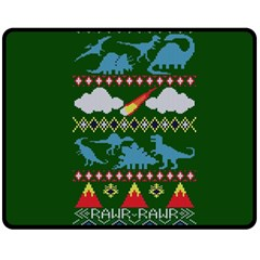 My Grandma Likes Dinosaurs Ugly Holiday Christmas Green Background Double Sided Fleece Blanket (Medium)  by Onesevenart