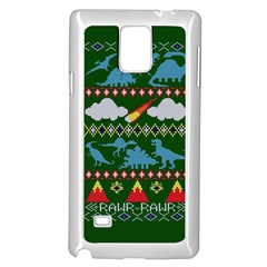 My Grandma Likes Dinosaurs Ugly Holiday Christmas Green Background Samsung Galaxy Note 4 Case (White) by Onesevenart