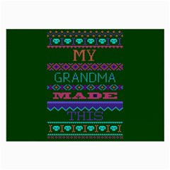 My Grandma Made This Ugly Holiday Green Background Large Glasses Cloth by Onesevenart