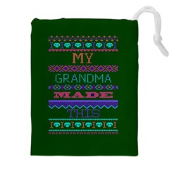 My Grandma Made This Ugly Holiday Green Background Drawstring Pouches (xxl) by Onesevenart