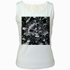 Black And White Passion Flower Passiflora  Women s White Tank Top by yoursparklingshop