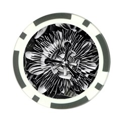 Black And White Passion Flower Passiflora  Poker Chip Card Guards (10 Pack)  by yoursparklingshop