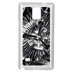 Black And White Passion Flower Passiflora  Samsung Galaxy Note 4 Case (White) by yoursparklingshop