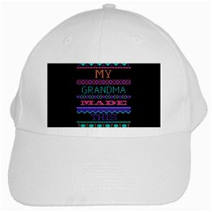 My Grandma Made This Ugly Holiday Black Background White Cap by Onesevenart