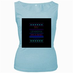 My Grandma Made This Ugly Holiday Black Background Women s Baby Blue Tank Top by Onesevenart