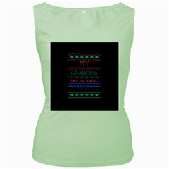 My Grandma Made This Ugly Holiday Black Background Women s Green Tank Top by Onesevenart