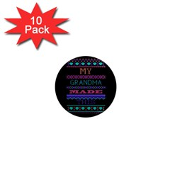 My Grandma Made This Ugly Holiday Black Background 1  Mini Magnet (10 Pack)  by Onesevenart