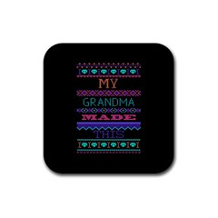 My Grandma Made This Ugly Holiday Black Background Rubber Coaster (square)  by Onesevenart