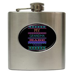 My Grandma Made This Ugly Holiday Black Background Hip Flask (6 Oz) by Onesevenart