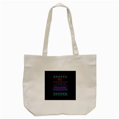 My Grandma Made This Ugly Holiday Black Background Tote Bag (cream) by Onesevenart