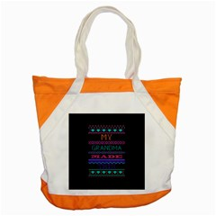 My Grandma Made This Ugly Holiday Black Background Accent Tote Bag by Onesevenart
