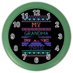 My Grandma Made This Ugly Holiday Black Background Color Wall Clocks by Onesevenart