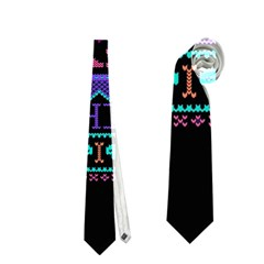 My Grandma Made This Ugly Holiday Black Background Neckties (one Side)  by Onesevenart