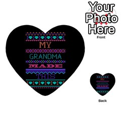 My Grandma Made This Ugly Holiday Black Background Multi Purpose Cards (heart)  by Onesevenart