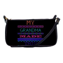 My Grandma Made This Ugly Holiday Black Background Shoulder Clutch Bags by Onesevenart