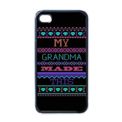 My Grandma Made This Ugly Holiday Black Background Apple Iphone 4 Case (black) by Onesevenart