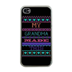 My Grandma Made This Ugly Holiday Black Background Apple Iphone 4 Case (clear) by Onesevenart