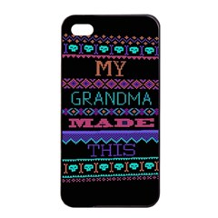 My Grandma Made This Ugly Holiday Black Background Apple Iphone 4/4s Seamless Case (black) by Onesevenart