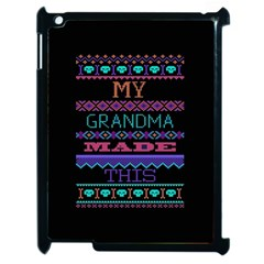 My Grandma Made This Ugly Holiday Black Background Apple Ipad 2 Case (black) by Onesevenart
