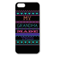 My Grandma Made This Ugly Holiday Black Background Apple Seamless Iphone 5 Case (clear) by Onesevenart