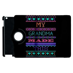 My Grandma Made This Ugly Holiday Black Background Apple Ipad 3/4 Flip 360 Case by Onesevenart