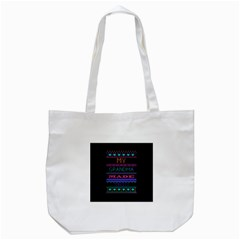 My Grandma Made This Ugly Holiday Black Background Tote Bag (white) by Onesevenart