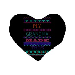 My Grandma Made This Ugly Holiday Black Background Standard 16  Premium Flano Heart Shape Cushions by Onesevenart