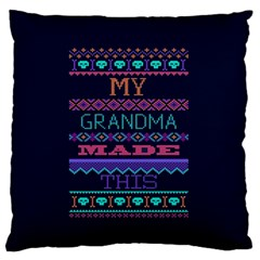 My Grandma Made This Ugly Holiday Blue Background Large Flano Cushion Case (two Sides) by Onesevenart