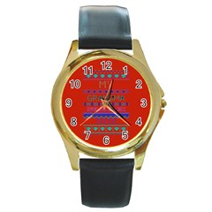 My Grandma Made This Ugly Holiday Red Background Round Gold Metal Watch by Onesevenart