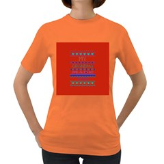 My Grandma Made This Ugly Holiday Red Background Women s Dark T Shirt by Onesevenart