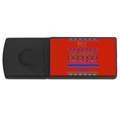 My Grandma Made This Ugly Holiday Red Background Usb Flash Drive Rectangular (4 Gb)  by Onesevenart
