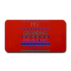 My Grandma Made This Ugly Holiday Red Background Medium Bar Mats by Onesevenart