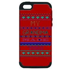 My Grandma Made This Ugly Holiday Red Background Apple Iphone 5 Hardshell Case (pc+silicone) by Onesevenart
