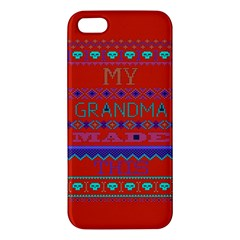 My Grandma Made This Ugly Holiday Red Background Apple Iphone 5 Premium Hardshell Case by Onesevenart