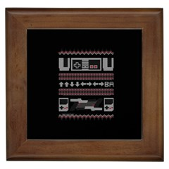 Old School Ugly Holiday Christmas Black Background Framed Tiles by Onesevenart