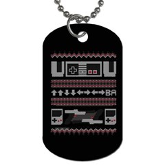 Old School Ugly Holiday Christmas Black Background Dog Tag (two Sides) by Onesevenart