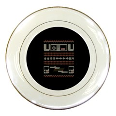 Old School Ugly Holiday Christmas Black Background Porcelain Plates by Onesevenart