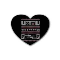 Old School Ugly Holiday Christmas Black Background Rubber Coaster (heart)  by Onesevenart