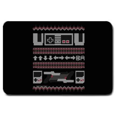 Old School Ugly Holiday Christmas Black Background Large Doormat  by Onesevenart