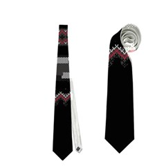 Old School Ugly Holiday Christmas Black Background Neckties (two Side)  by Onesevenart