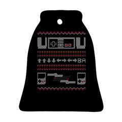 Old School Ugly Holiday Christmas Black Background Bell Ornament (2 Sides) by Onesevenart