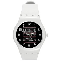 Old School Ugly Holiday Christmas Black Background Round Plastic Sport Watch (m) by Onesevenart