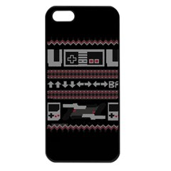 Old School Ugly Holiday Christmas Black Background Apple Iphone 5 Seamless Case (black) by Onesevenart