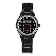 Old School Ugly Holiday Christmas Black Background Stainless Steel Round Watch by Onesevenart