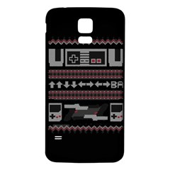 Old School Ugly Holiday Christmas Black Background Samsung Galaxy S5 Back Case (white) by Onesevenart