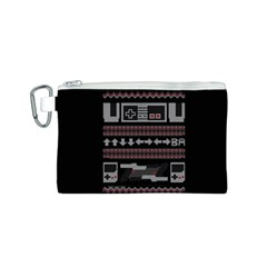 Old School Ugly Holiday Christmas Black Background Canvas Cosmetic Bag (s) by Onesevenart