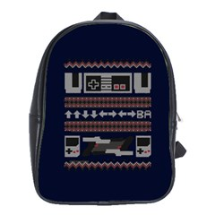Old School Ugly Holiday Christmas Blue Background School Bags (xl)  by Onesevenart
