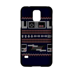 Old School Ugly Holiday Christmas Blue Background Samsung Galaxy S5 Hardshell Case  by Onesevenart