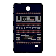 Old School Ugly Holiday Christmas Blue Background Samsung Galaxy Tab 4 (8 ) Hardshell Case  by Onesevenart