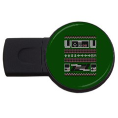 Old School Ugly Holiday Christmas Green Background USB Flash Drive Round (4 GB)  by Onesevenart
